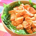 モモ肉嫉妬。激プリむね肉オーロラマスタード水菜サラダ(糖質5.9g) by ねこやましゅんさん