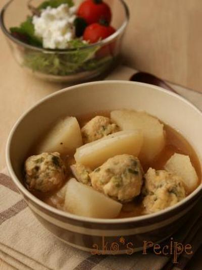 地味うまシリーズ!とろける長芋とつくねの煮物