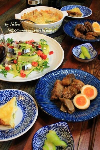 ◆秋刀魚のオイル漬けサラダと豚の角煮でおうちごはん♪~ゆるやか糖質制限♪