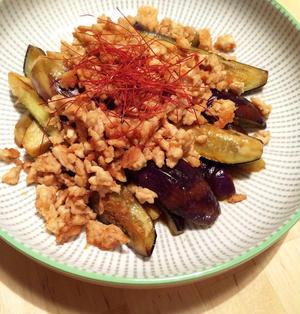 簡単!鶏ひき肉とナスの生姜焼き