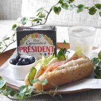 【うちレシピ】生ハムとカマンベールチーズのロールパンサンド / 【参加中】おそとで楽しむ♪プレジデント チーズレシピ」レシピモニター