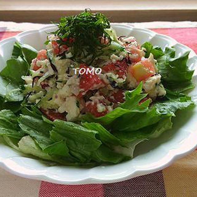 朝ベジレシピ♪火を使わない!トマトときゅうりの豆腐サラダ