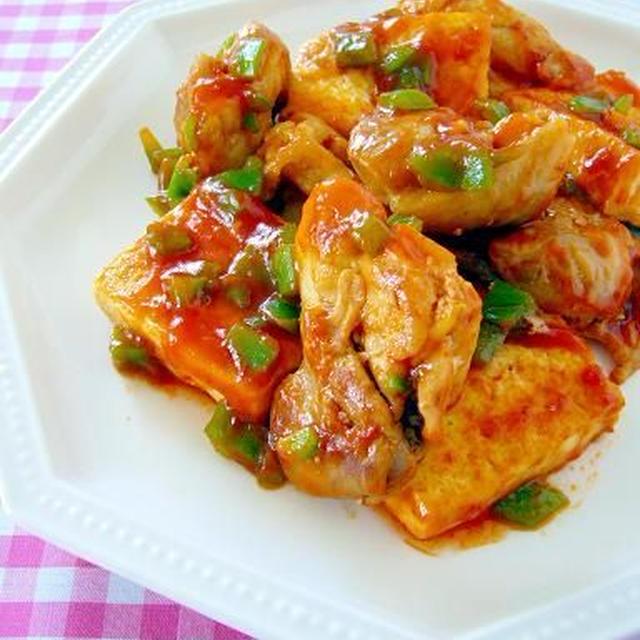 鶏肉と豆腐のチリソース炒め♪