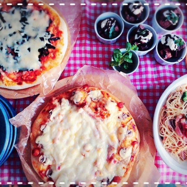 次女と一緒にイタリアン♡今朝は炭水化物祭り~~~ピザにパスタに・・・(*'ω' *)
