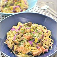 鮭ときのこ紫キャベツのゆかりペペロンチー二