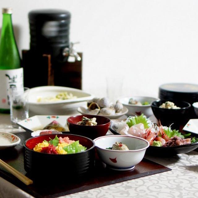 牛肉ちらし寿司や鯛の道明寺蒸しなど♫