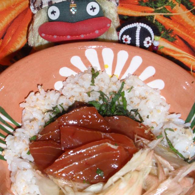 まぐろのづけ丼&インゲンと南瓜の胡麻サラダ(お家カフェ)