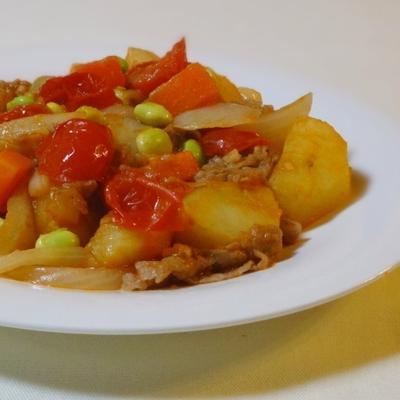 牛肉と野菜のトマトケチャップ炒め