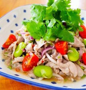 豚こま肉とそら豆のタイ風パクチーサラダ♪お家で簡単タイ料理@アジアごはんごちそうワンプレート!