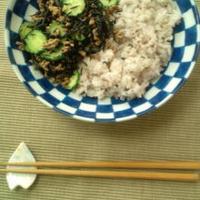 きゅうりとひじきのオイ丼&きゅうりと海苔の和え物 レシピモニター