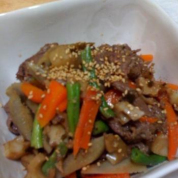 根菜と牛肉の炒め煮