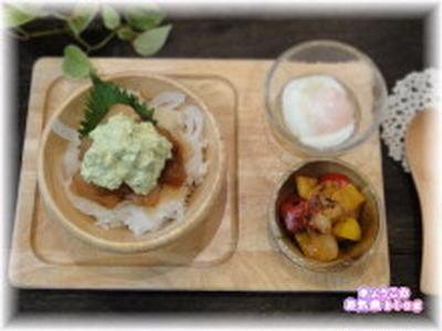 カフェ飯★濃厚マグロのアボマヨ漬け丼ランチ