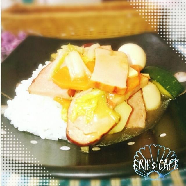 【うちごはん】お中元の伊藤ハムで♪お手軽八宝菜丼風