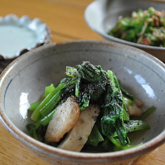 小松菜と生姜天の炒め煮