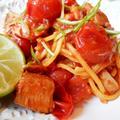 かんぱちとトマトのパスタ ライム風味