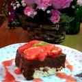 チョコレートムースのケーキ ~ かわいい苺のトッピング♡
