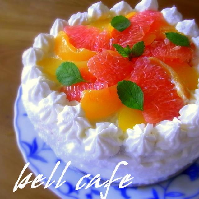 黄桃とグレープフルーツのケーキ~父の誕生日~