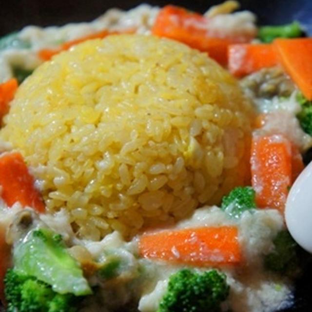 ぱらり炒飯にとろり餡、黄金炒飯の白金餡と若芽スープで簡単ヘルシー夕餉
