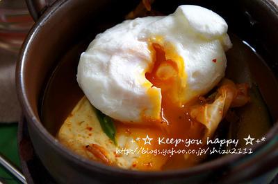 +*レンジで簡単 韓国農協キムチでスンドゥブ チゲ風+*