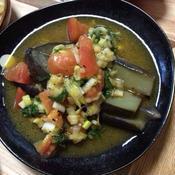 蒸しなすと夏野菜のカレー風味