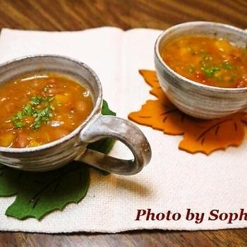 うずら豆とバターナッツスクウォッシュのスープレシピ