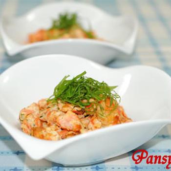 ふんわり♪鮭の炒り豆腐☆大葉風味