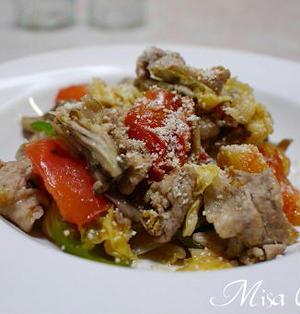 豚肉とキャベツとトマトの蒸し炒め