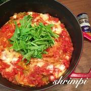 ストゥブで♪白菜と豚バラのピリ辛ミルフィーユトマト鍋