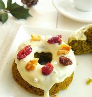 【ケーキのようなホットケーキミックス】で作る 抹茶のミニリースケーキ