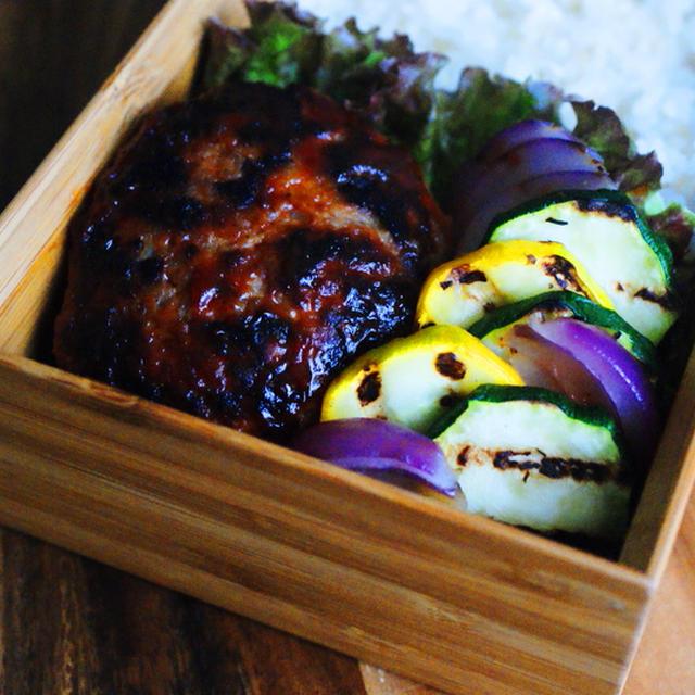 ハンバーグとグリル野菜のお弁当と今日の針仕事