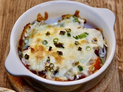 ミニトマトとシラスのチーズ焼き&「尾道背油醤油ラーメン」