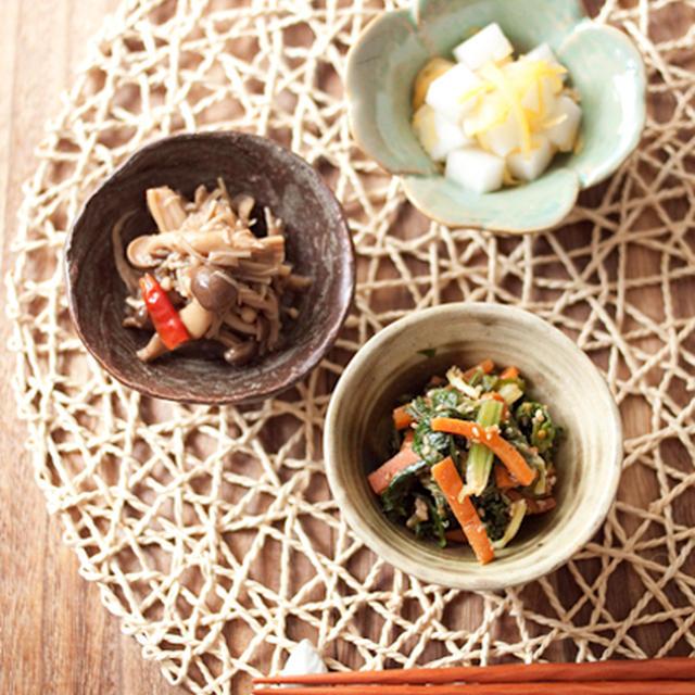 醤油麹の常備菜2品と、夏みかんジャムの漬け物。