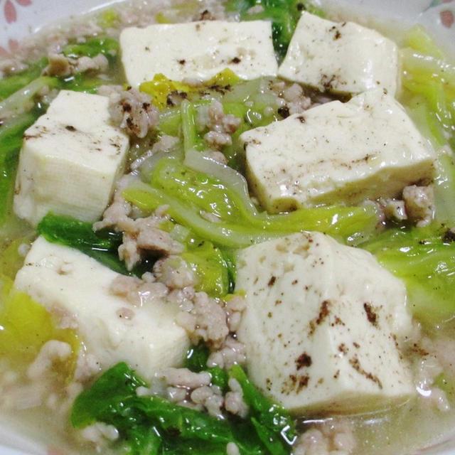 鶏ひき肉で作る麻婆豆腐白菜<白麻婆>