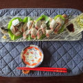 梅醤油と洋風ソースで食べる 秋刀魚の刺身
