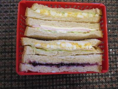 雑穀粉入り食パンのサンドイッチ