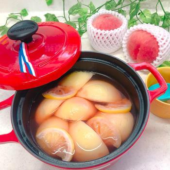♪季節のデザート♡桃のコンポート♪