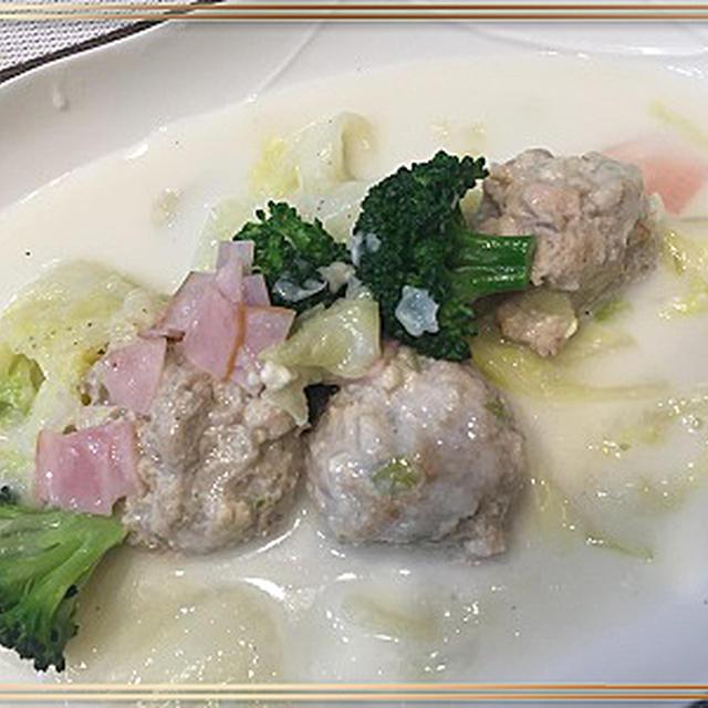 白菜と鶏肉団子のクリーム煮・・料理教室はササミづくし!!