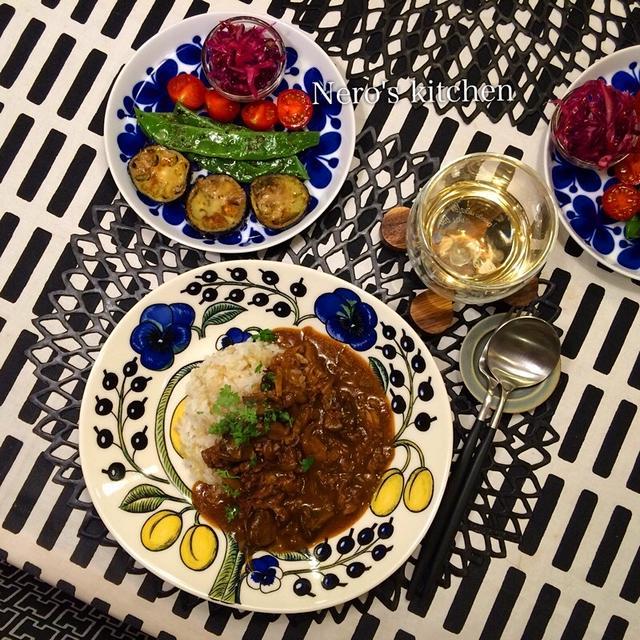 マッシュルームたっぷりハヤシライス・採れたて茄子の焼き野菜♪