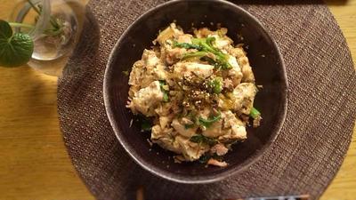 豆腐とツナとわさび菜のチャンプルー風炒めもの