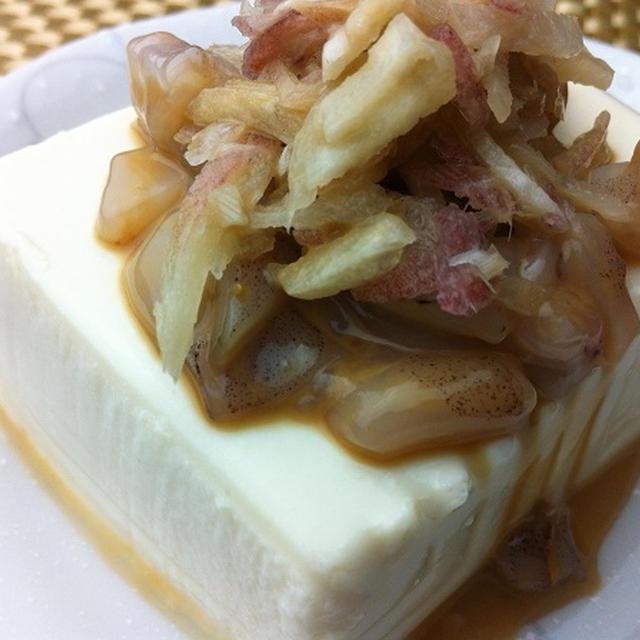 健康お豆腐レシピ 自家製イカ塩辛みょうが冷奴