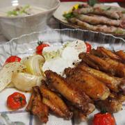 クリスマスメニュー☆手羽中のオーブン焼きとインゲンの豚肉巻きと豚カブ豆乳スープ