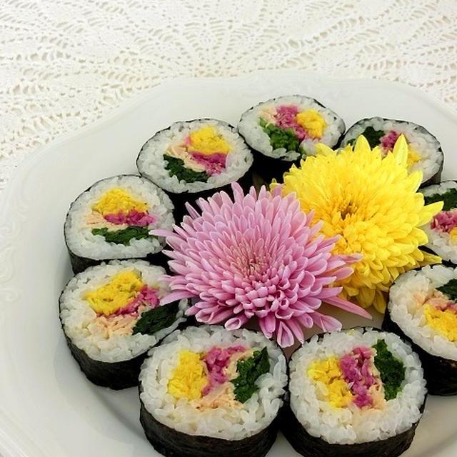 食用菊の華やかおもてなし巻き寿司