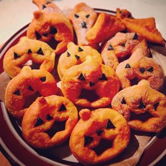 ハロウィンかぼちゃドーナツ☆HBで簡単!