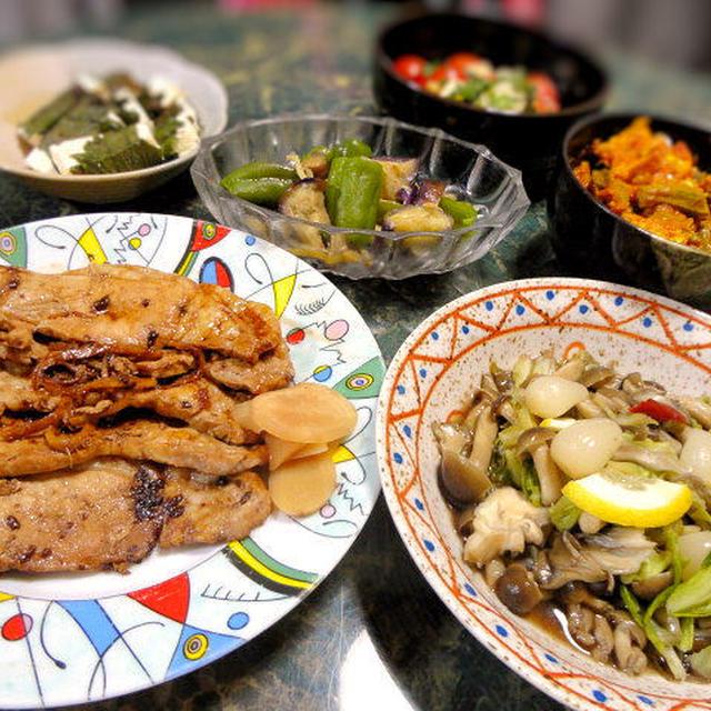7月4日は豚肉の醤油麹生姜焼きや酸っぱい・辛い・冷たい感じで夏おかず★暑いねん!大阪って全6品