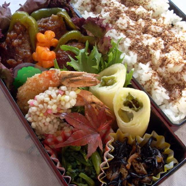 ピーマンの肉詰めのお弁当、とレシピブログ掲載のお知らせ