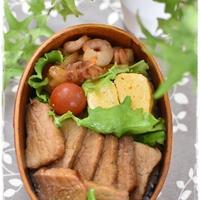 中学生男子弁当|焼豚のっけ弁当|むき海老のスイートチリソース炒め|