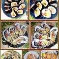 太巻きとヤリイカと赤貝のレモン塩炒めに殻付き赤貝で