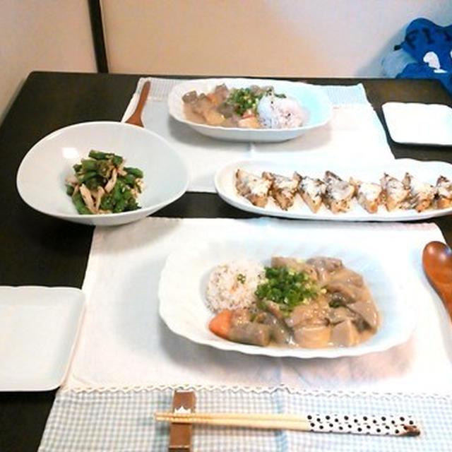 【筑前煮リメイク】根菜のクリームシチューと菜の花の柚子胡椒和え。