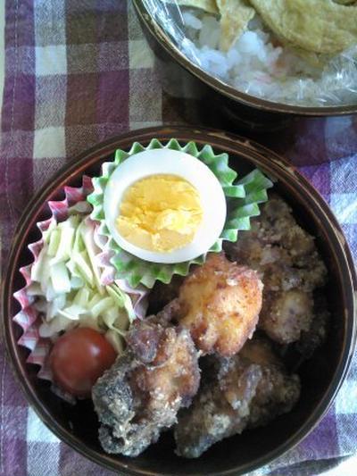 レシピのっけ稲荷寿司と塩麹の鶏竜田弁当