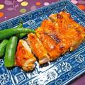 鶏もも肉の味噌焼き&柿入りポテサラ